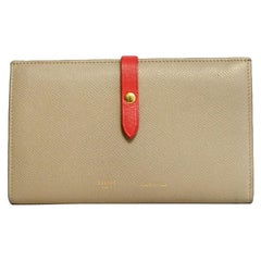 Celine Taupe/Red Grained Calfskin Large Multifunction Strap Wallet rt $810