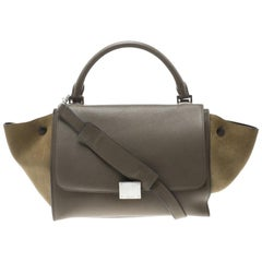 Celine Taupe Two Tone Leather and Suede Small Trapeze Tote