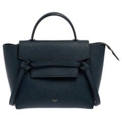 Celine Teal Blue Leather Micro Belt Bag