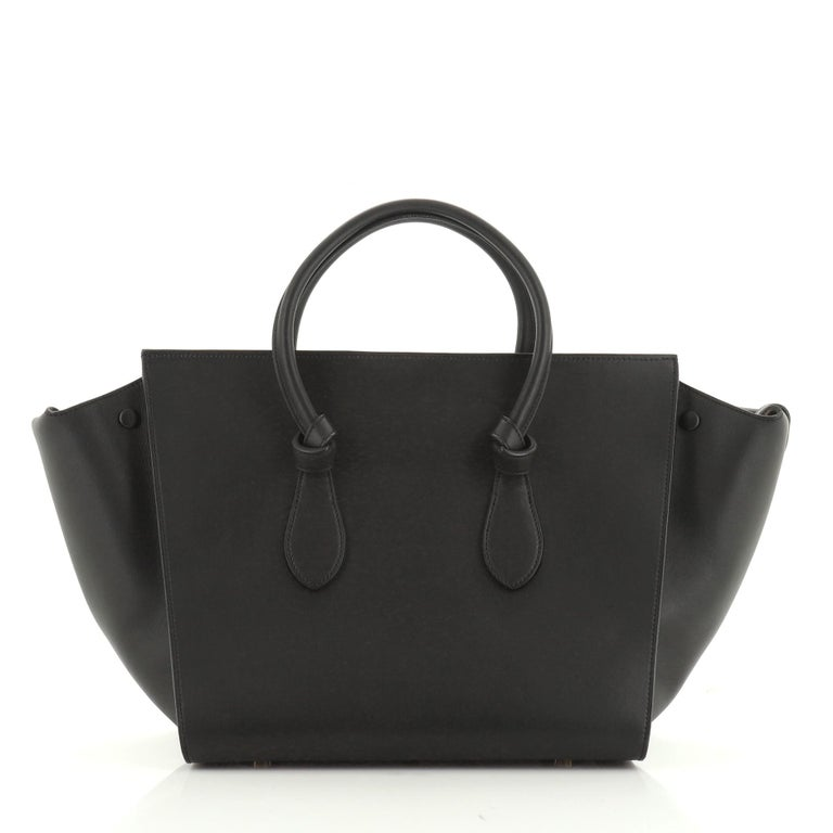 Black Celine Tie Knot Tote Smooth Leather Small