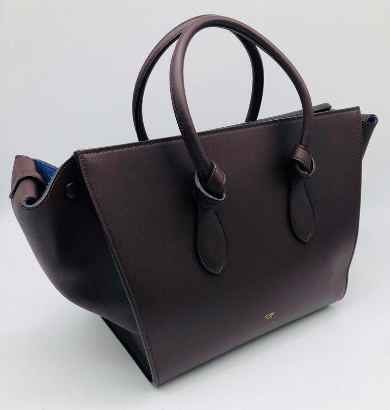 Black CÉLINE Tie Shoulder bag in Burgundy Leather For Sale
