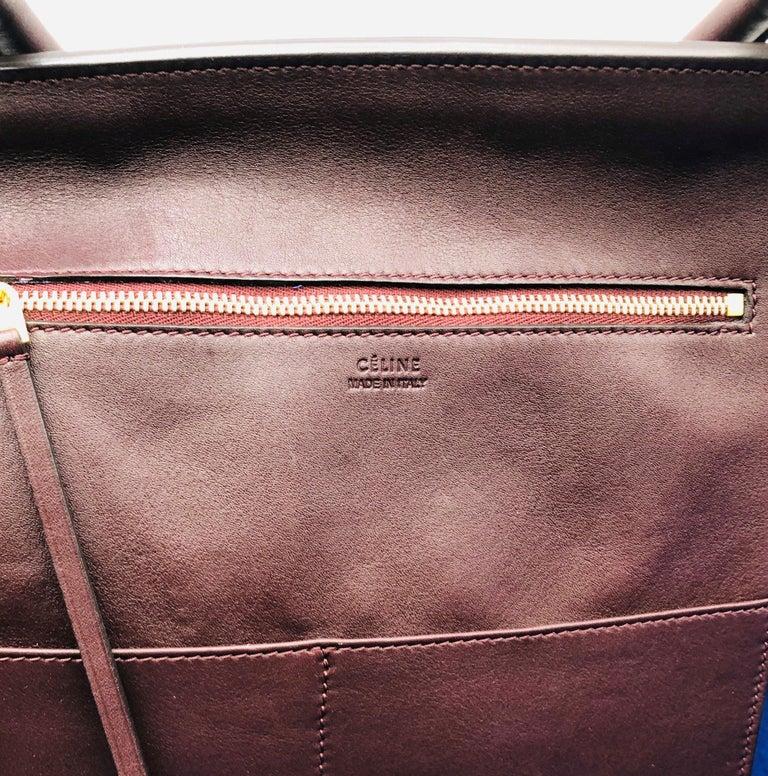 CÉLINE Tie Shoulder bag in Burgundy Leather For Sale 1