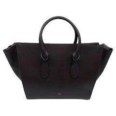 CÉLINE Tie Shoulder bag in Burgundy Leather