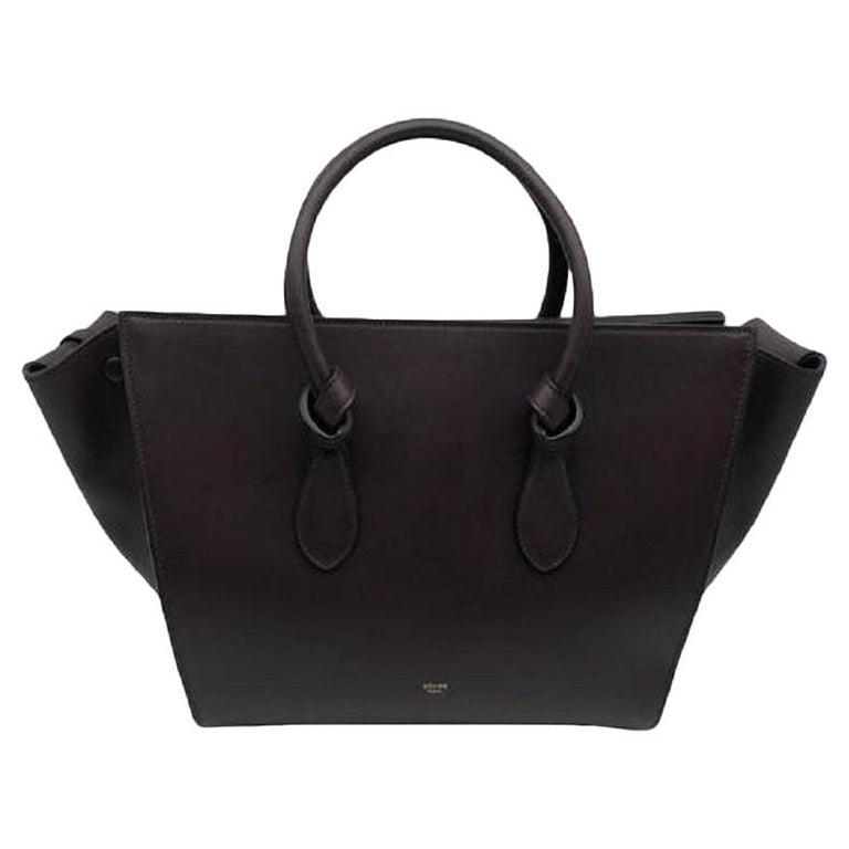 CÉLINE Tie Shoulder bag in Burgundy Leather For Sale