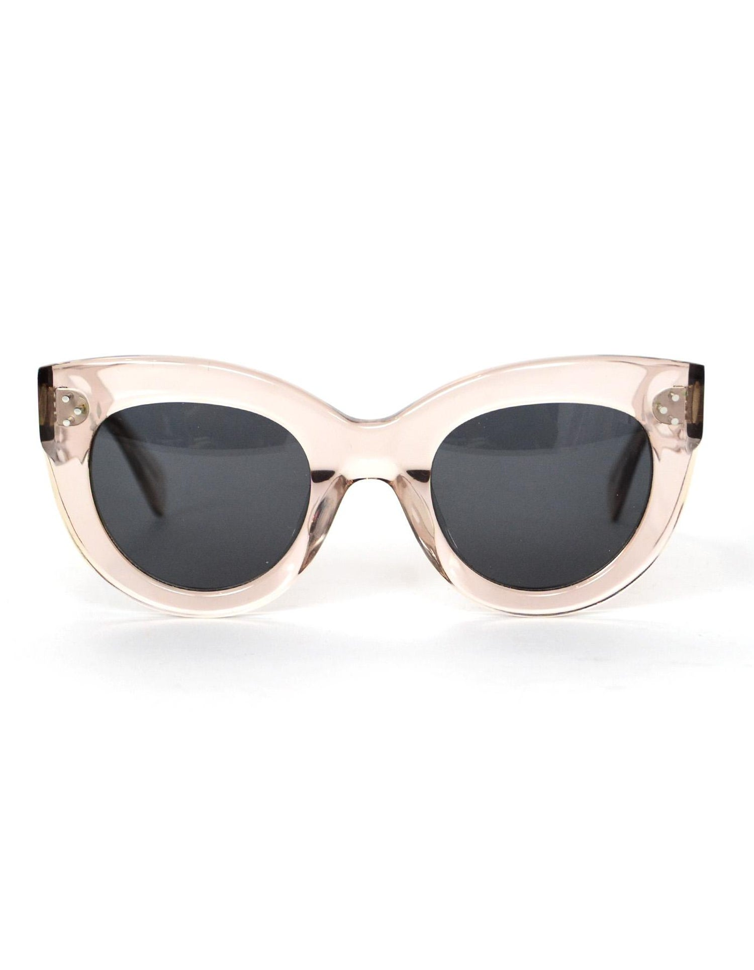 0b0b52b57a Celine Transparent Peach Clear Cat Eye Sunglasses with Case For Sale at  1stdibs