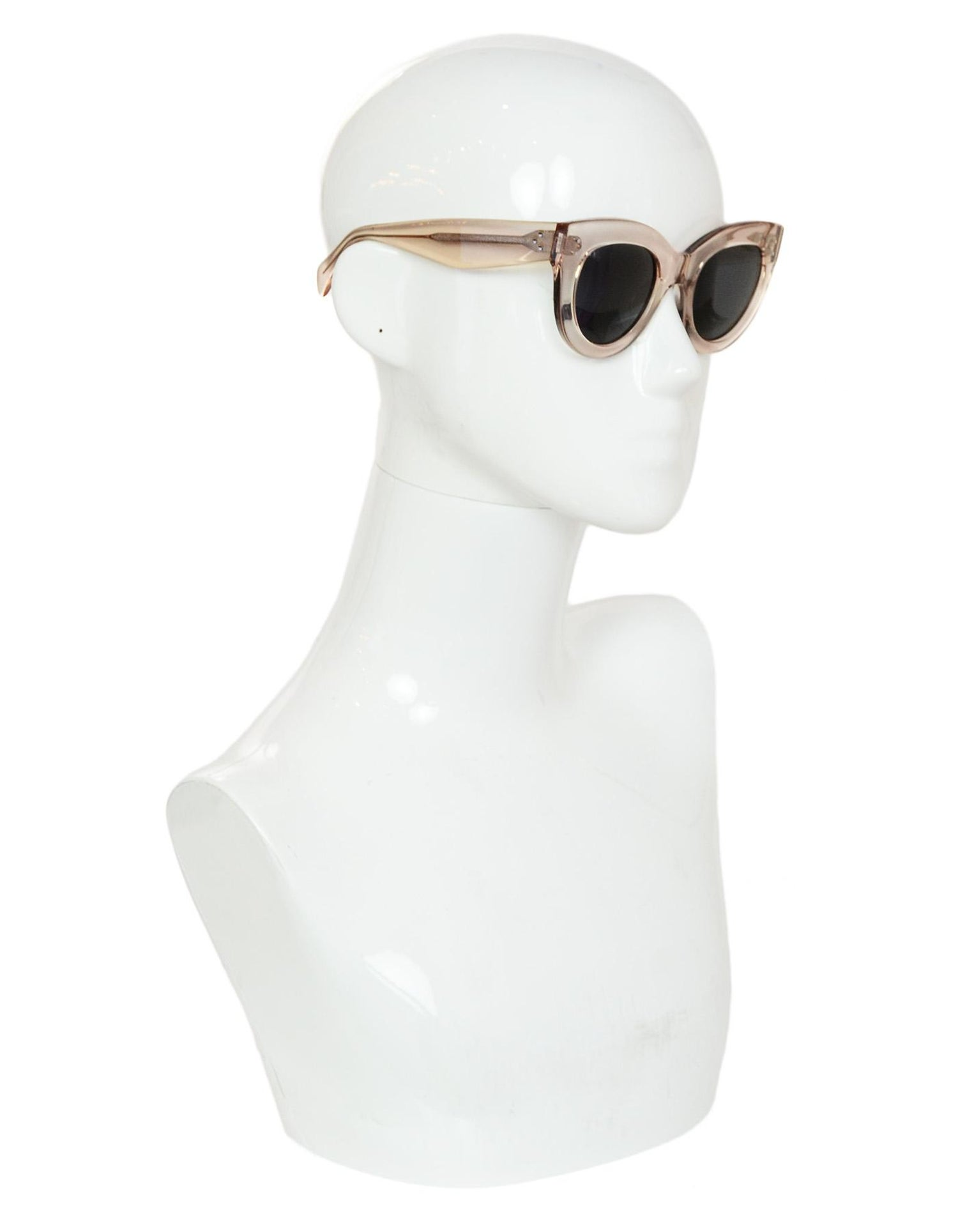620b6828034 Celine Transparent Peach Clear Cat Eye Sunglasses with Case For Sale at  1stdibs