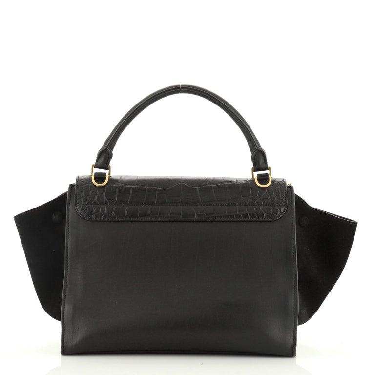 Black Celine Trapeze Bag Crocodile Embossed Leather Medium