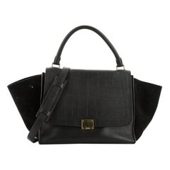 Celine Trapeze Bag Crocodile Embossed Leather Medium