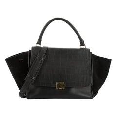 Celine Trapeze Bag Crocodile Embossed Leather Medium