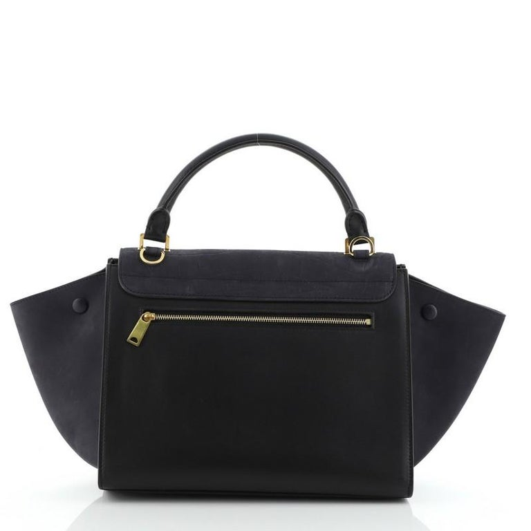 Celine Trapeze Bag Crocodile Embossed Nubuck Small In Good Condition For Sale In New York, NY