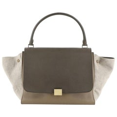 Celine Trapeze Bag Leather With Canvas Large