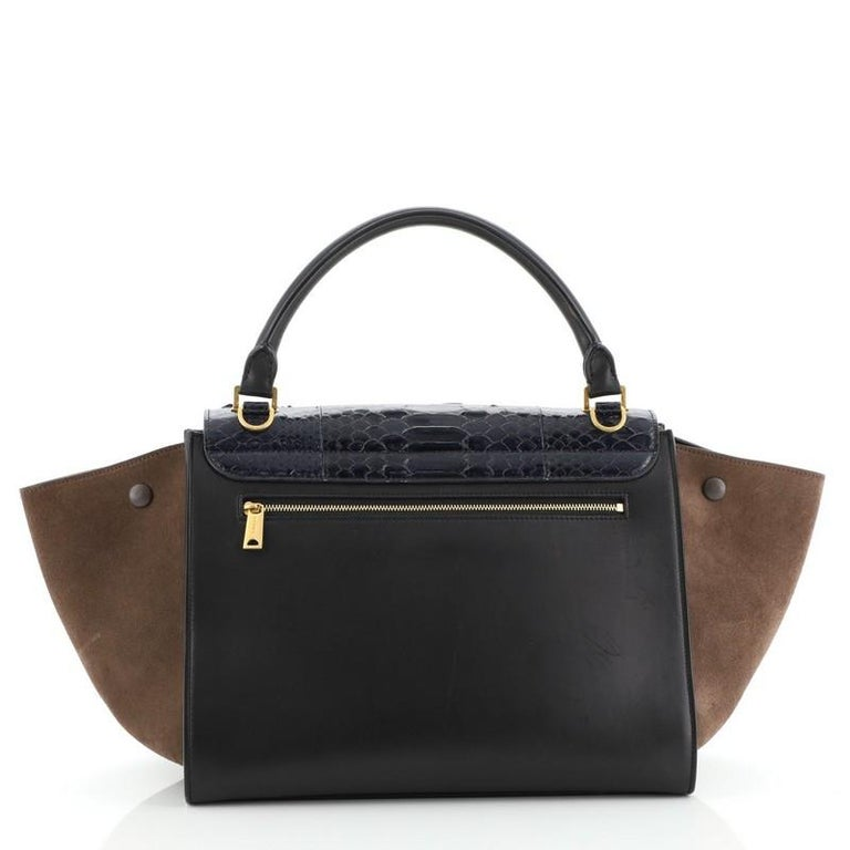 Celine Trapeze Bag Python and Leather Medium In Good Condition For Sale In New York, NY
