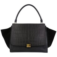 Celine Trapeze Handbag Crocodile Embossed Leather Large