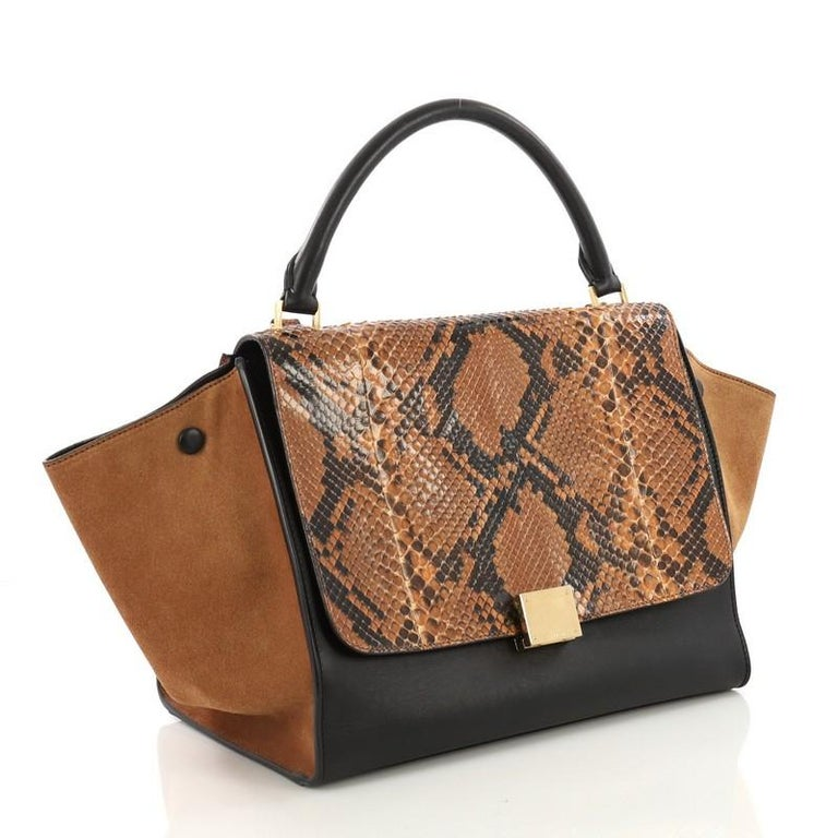 7a23527692 Celine Trapeze Handbag Python Medium In Good Condition For Sale In New  York