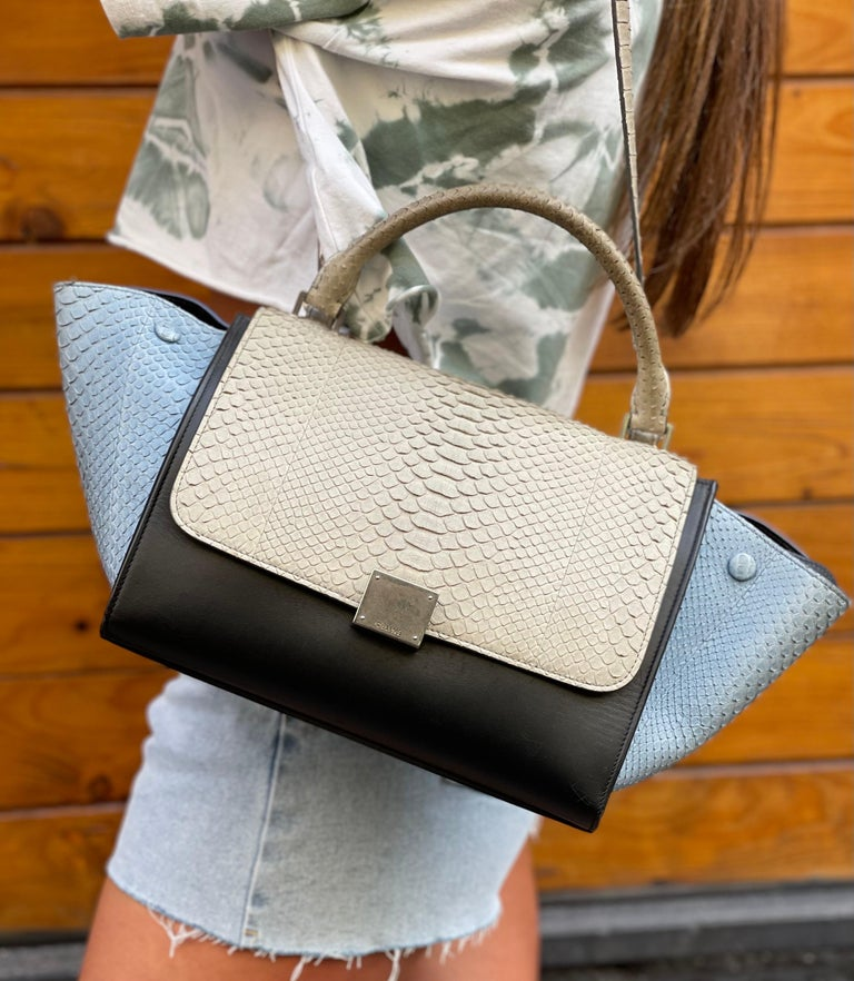 Celine designer bag made of light blue and gray python leather. Equipped with top handle. Flap closure, very roomy inside. It seems in perfect conditions. Dimensions: 17 × 30 × 24 cm