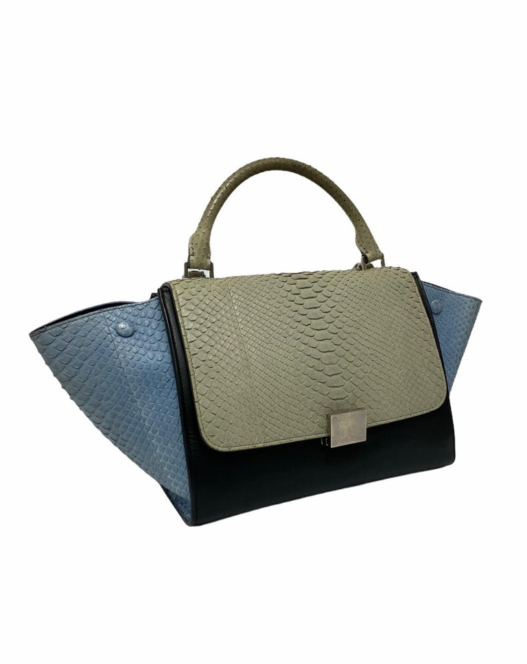 Celine Trapeze Python Handbag in Blue, Gray and Black Colors In Excellent Condition For Sale In Torre Del Greco, IT