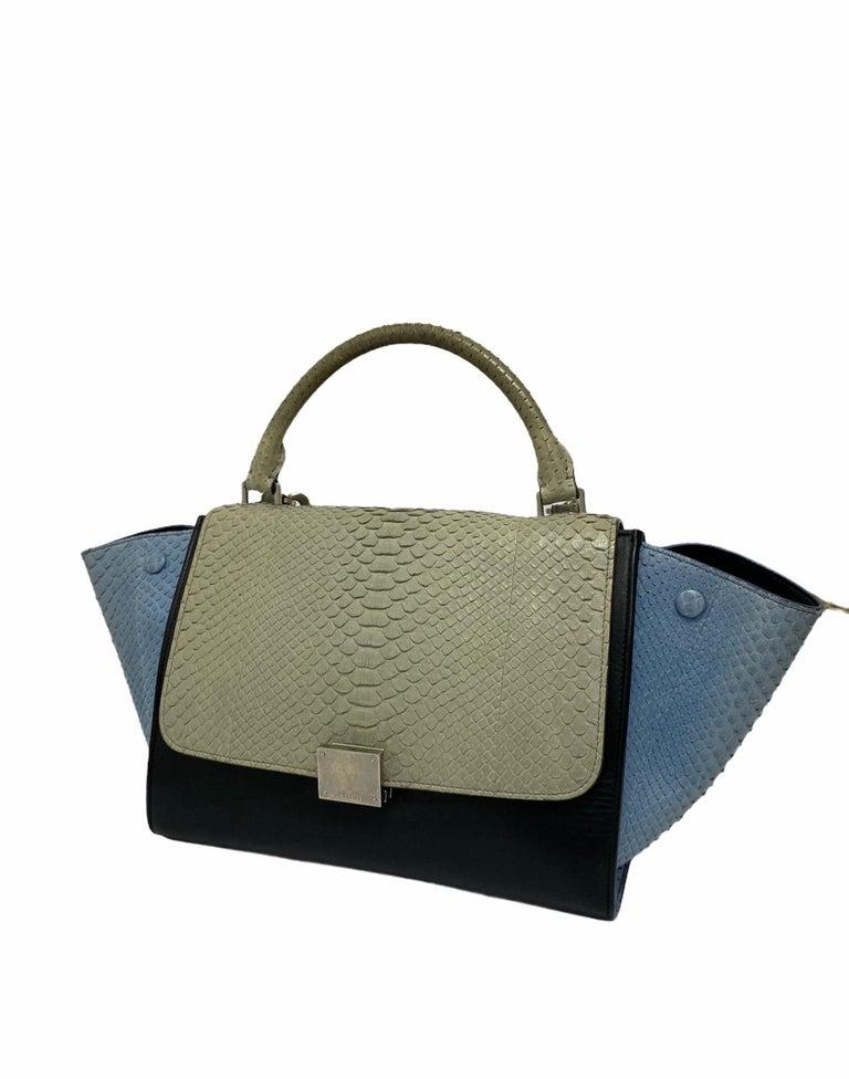 Women's Celine Trapeze Python Handbag in Blue, Gray and Black Colors For Sale