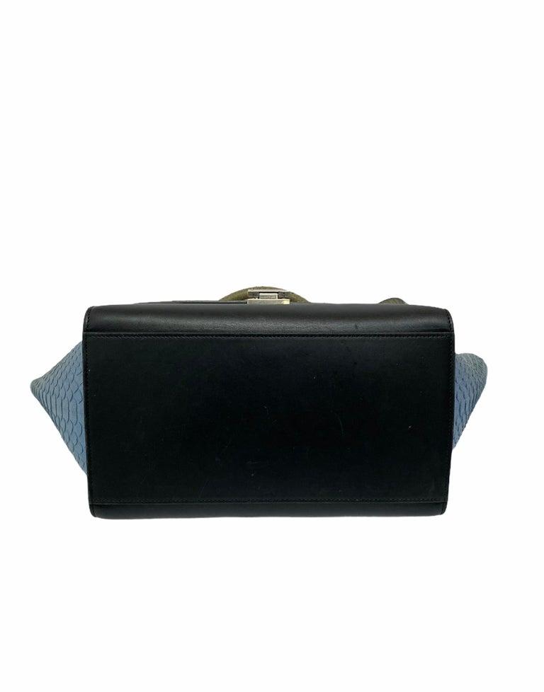 Celine Trapeze Python Handbag in Blue, Gray and Black Colors For Sale 2