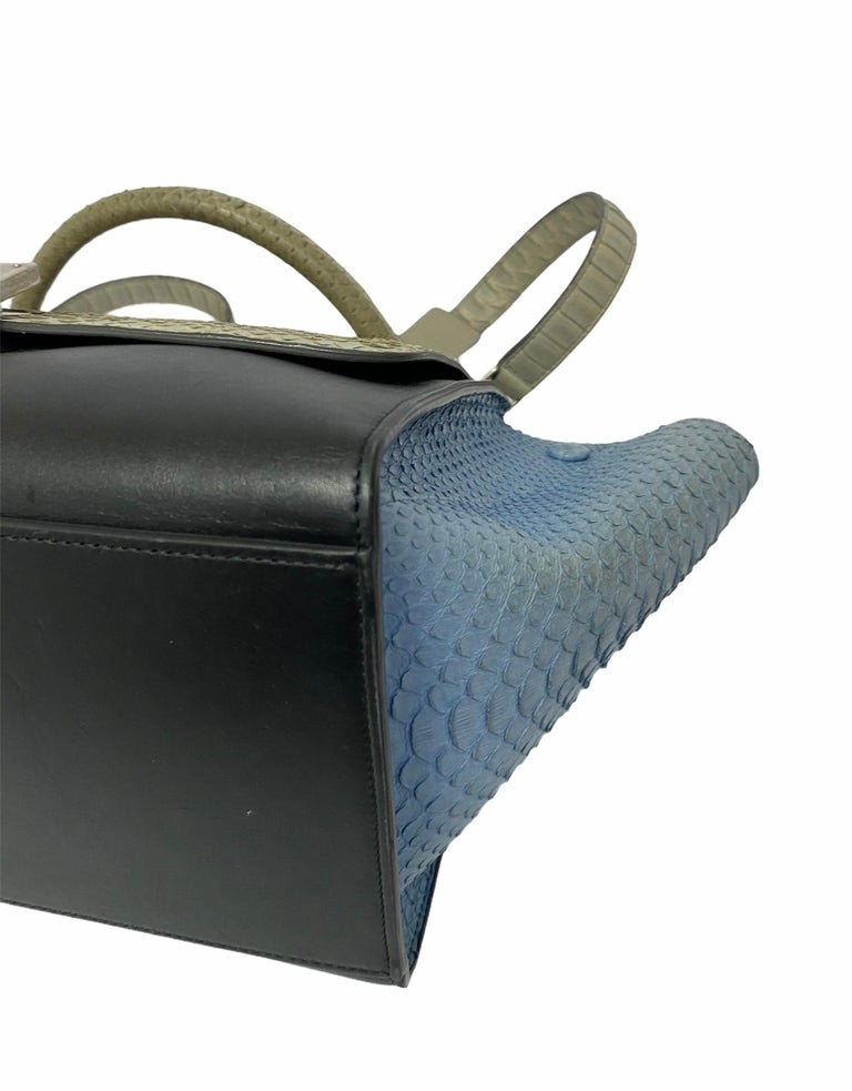 Celine Trapeze Python Handbag in Blue, Gray and Black Colors For Sale 4