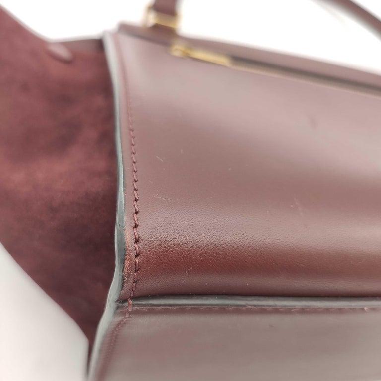 CÉLINE Trapeze Shoulder bag in Burgundy Leather For Sale 10