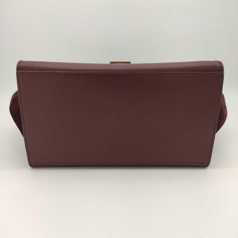 CÉLINE Trapeze Shoulder bag in Burgundy Leather In Good Condition For Sale In Clichy, FR