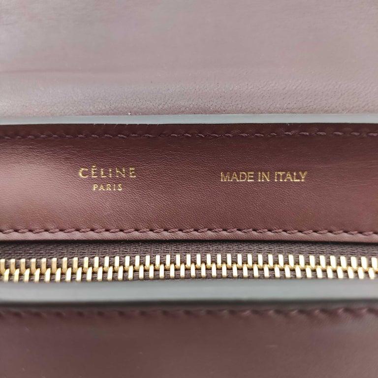 CÉLINE Trapeze Shoulder bag in Burgundy Leather For Sale 1