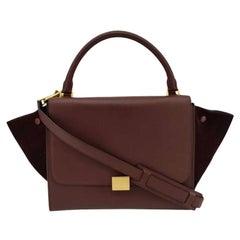 CÉLINE Trapeze Shoulder bag in Burgundy Leather