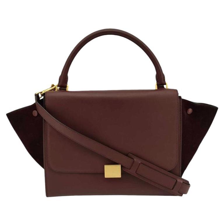 CÉLINE Trapeze Shoulder bag in Burgundy Leather For Sale
