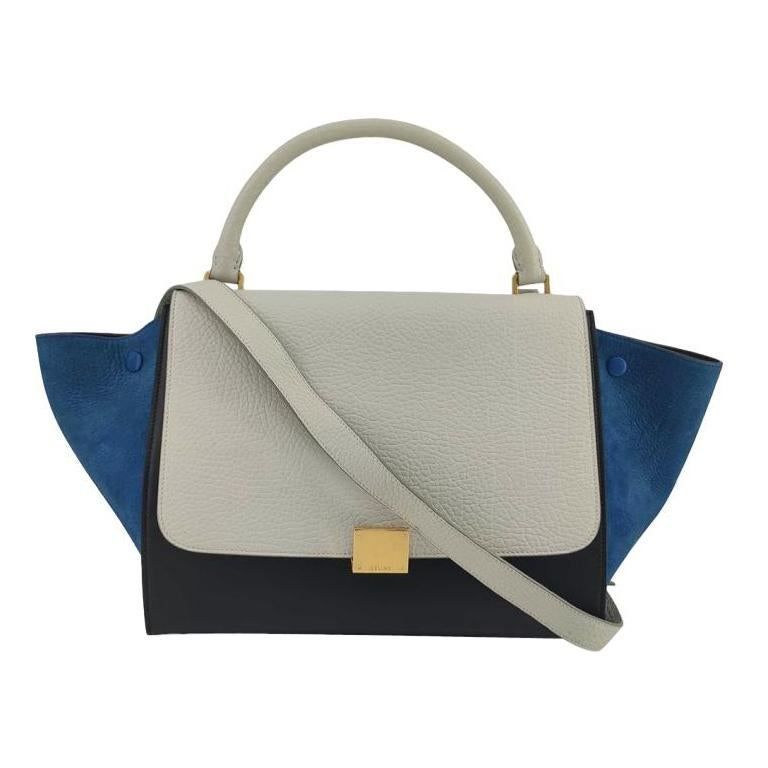 CÉLINE Trapeze Shoulder bag in White Leather For Sale
