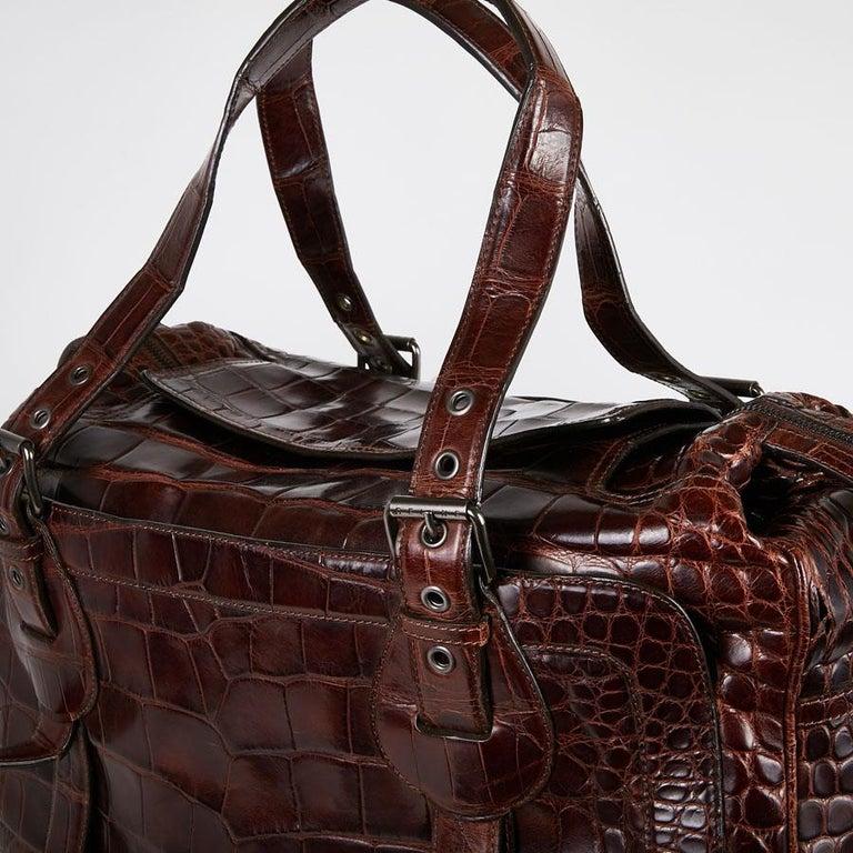 CELINE Travel Bag in Ice Browned Mississipi Alligator For Sale 5