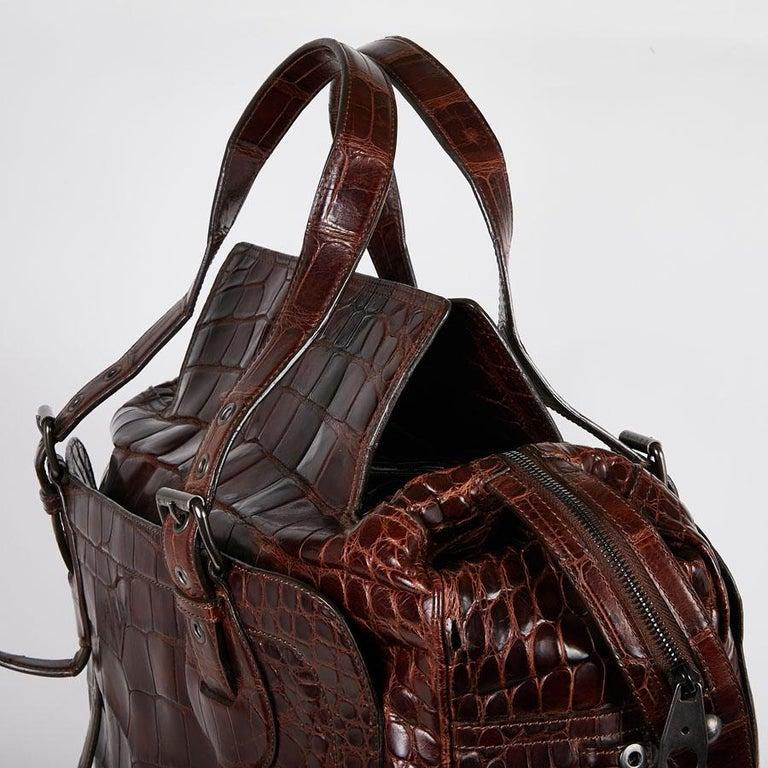 CELINE Travel Bag in Ice Browned Mississipi Alligator For Sale 6
