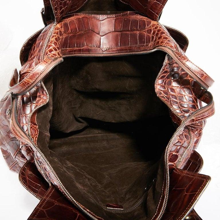 CELINE Travel Bag in Ice Browned Mississipi Alligator For Sale 7