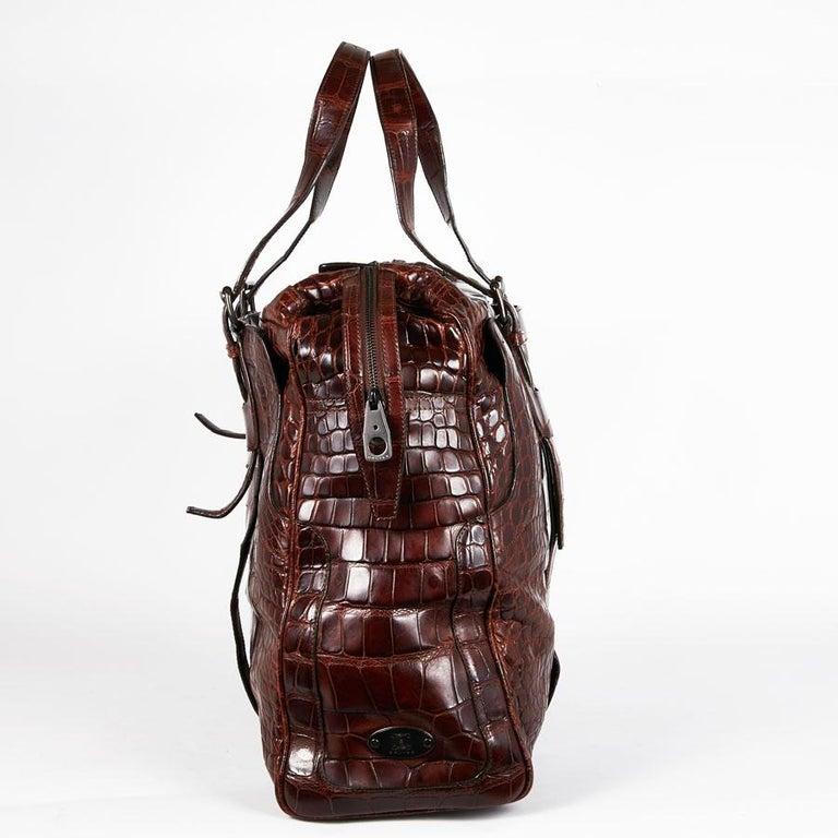 CELINE Travel Bag in Ice Browned Mississipi Alligator In Excellent Condition For Sale In Paris, FR