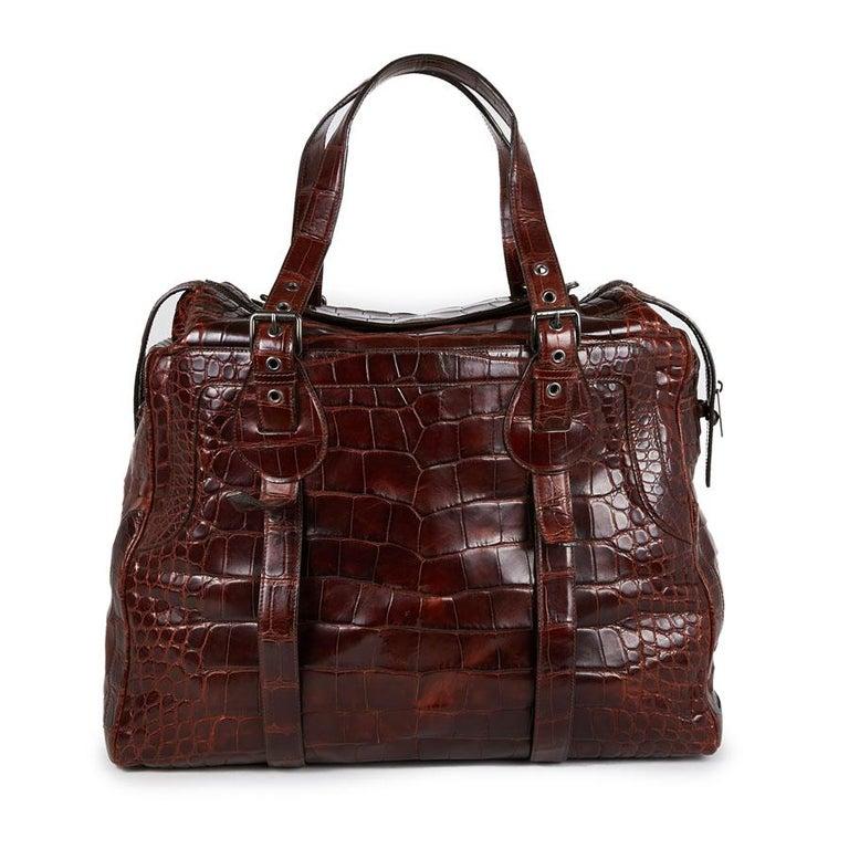 Women's CELINE Travel Bag in Ice Browned Mississipi Alligator For Sale
