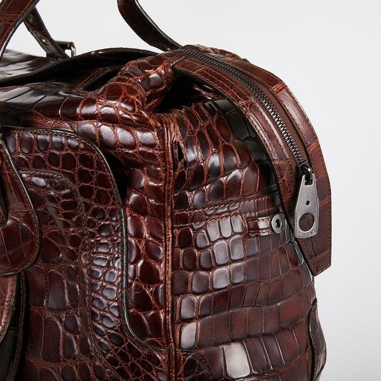 CELINE Travel Bag in Ice Browned Mississipi Alligator For Sale 4