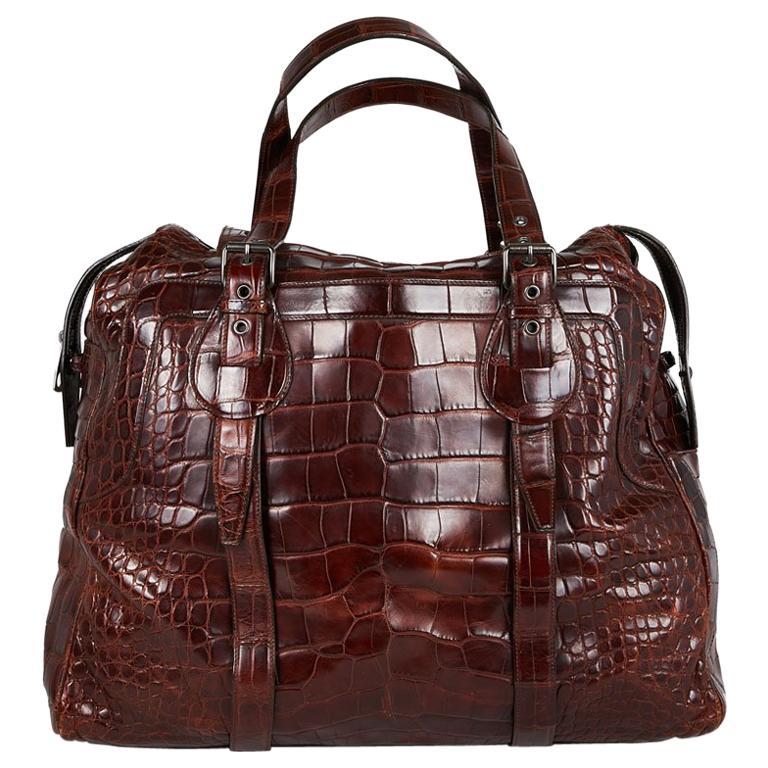 CELINE Travel Bag in Ice Browned Mississipi Alligator For Sale