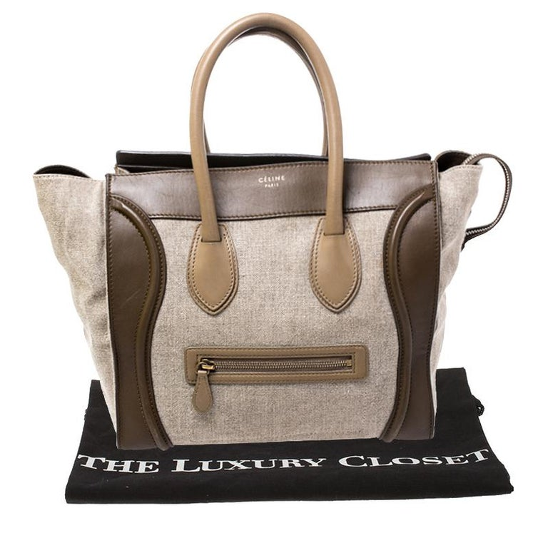 Celine Tri Color Canvas and Leather Mini Luggage Tote For Sale 7