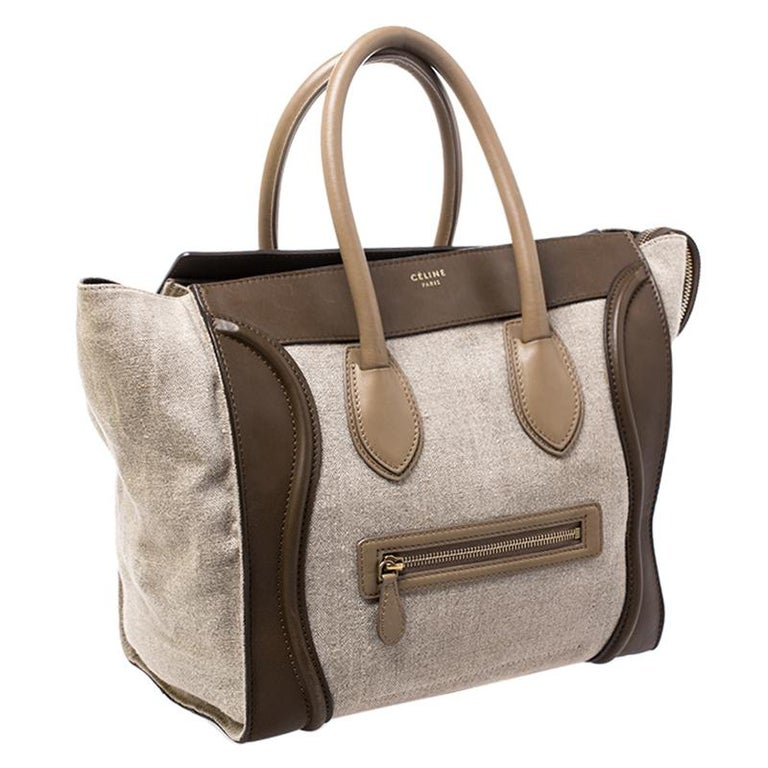 Brown Celine Tri Color Canvas and Leather Mini Luggage Tote For Sale