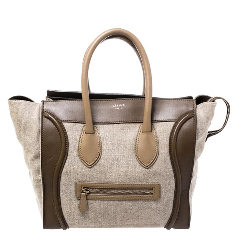 Celine Tri Color Canvas and Leather Mini Luggage Tote For Sale 3