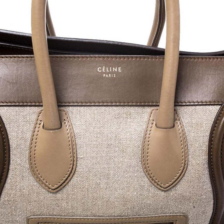 Celine Tri Color Canvas and Leather Mini Luggage Tote For Sale 4