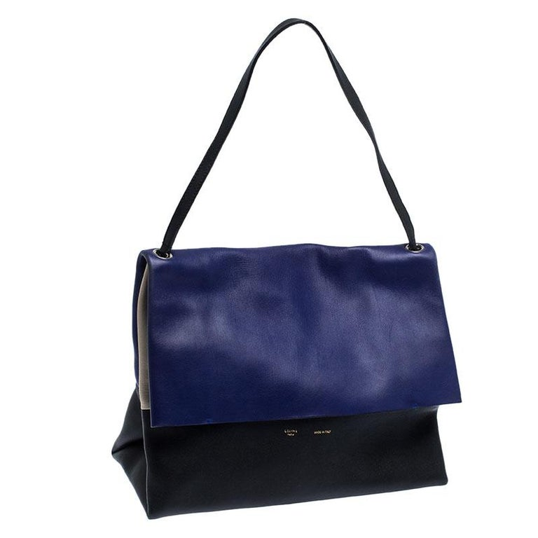 Celine Tri Color Leather All Soft Shoulder Bag In Good Condition For Sale In Dubai, Al Qouz 2