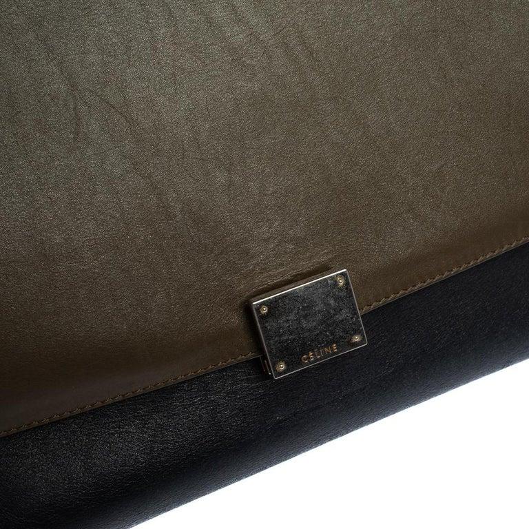 Celine Tri Color Leather and Canvas Medium Trapeze Bag For Sale 5