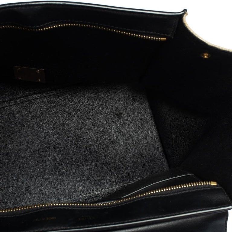 Celine Tri Color Leather and Canvas Medium Trapeze Bag For Sale 7
