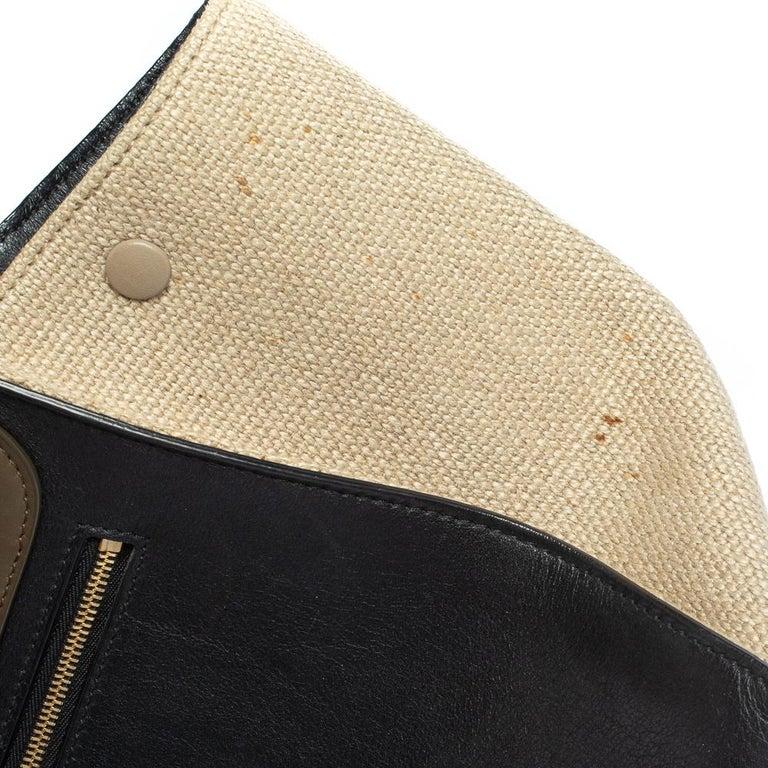 Celine Tri Color Leather and Canvas Medium Trapeze Bag For Sale 8