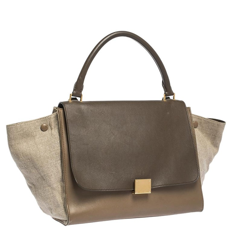 Gray Celine Tri Color Leather and Canvas Medium Trapeze Bag For Sale
