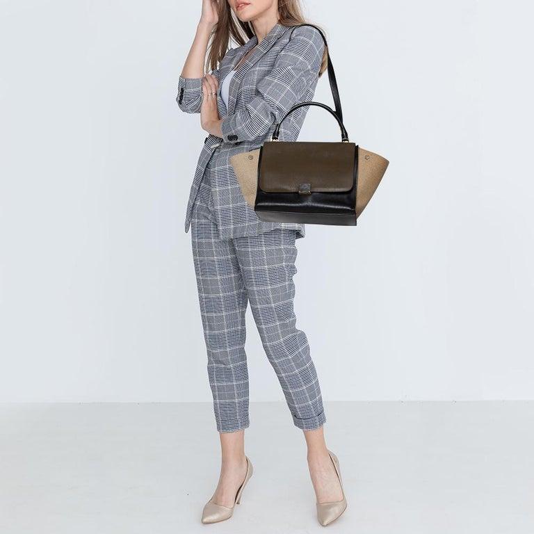 Black Celine Tri Color Leather and Canvas Medium Trapeze Bag For Sale