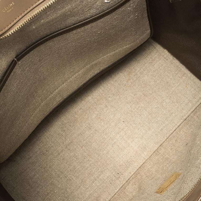 Women's Celine Tri Color Leather and Canvas Medium Trapeze Bag For Sale