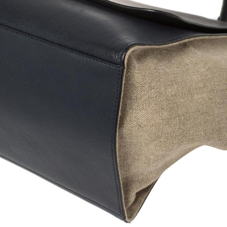 Celine Tri Color Leather and Canvas Medium Trapeze Bag For Sale 2