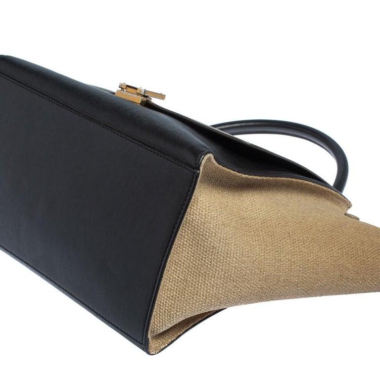 Celine Tri Color Leather and Canvas Medium Trapeze Bag For Sale 4