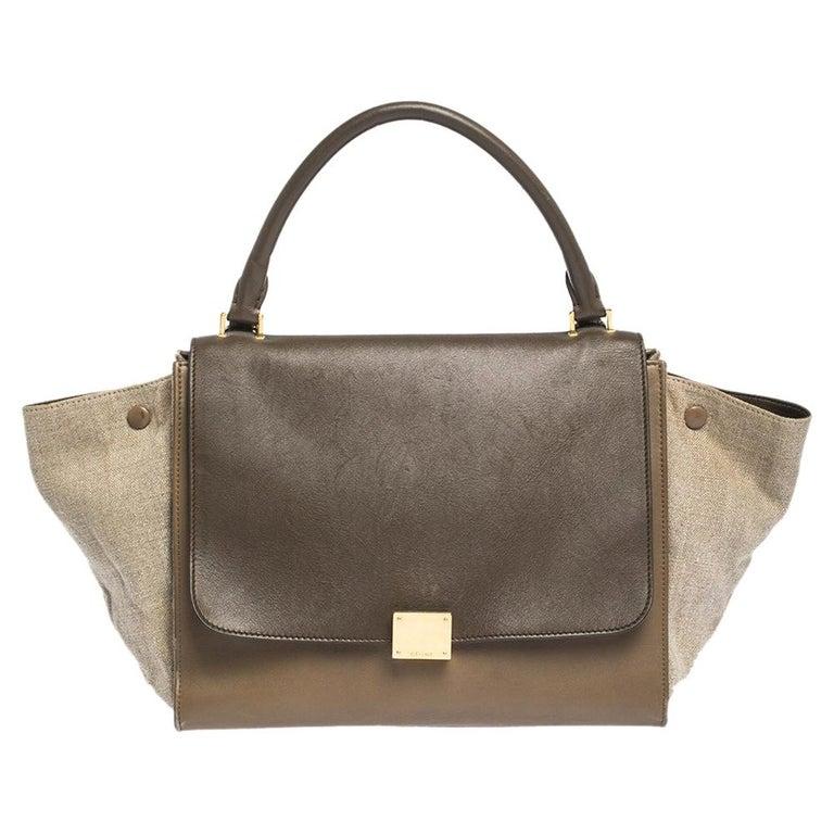 Celine Tri Color Leather and Canvas Medium Trapeze Bag For Sale